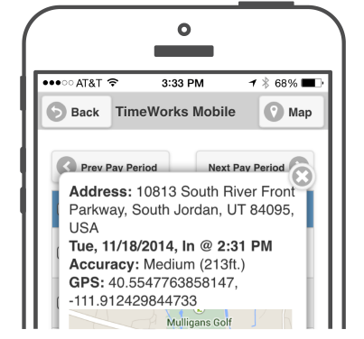 Time card GPS punch verify